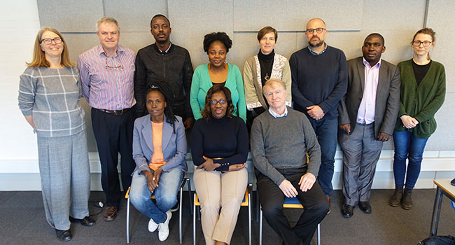 Sitting from left: Justine Nalunkuuma (AfricaLics PhD visiting fellow, Uganda), Ann Kingiri (AfricaLics secretariat and ACTS, Kenya), Edward Lorentz (University of Nice and AAU). Standing from left: Margrethe Holm Andersen (AAU), Prof. Cornelius Schutte (Stellenbosch University, South Africa), Bernadin Ahodode (AfricaLics PhD visiting fellow, Benin), Chipo Ngongoni (AfricaLis PhD visiting fellow, Zimbabwe), Rebecca Hanlin (AfricaLics secretariat and African Center for Technology Studies),  Rasmus Lema (Aalborg University), Dr. Narisi Mubangizi (Makerere University, Uganda), Susanne Bartram (AAU).