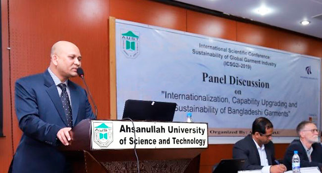 Associate Professor Mohammad Bakhtiar Rana giving a speech at the international scientific conference on 'sustaining garments' in Dhaka, Bangladesh.
